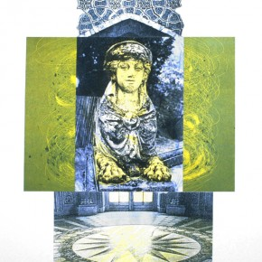 """The Oracle Observes 2005 monoprint collage 30"""" x 22"""""""