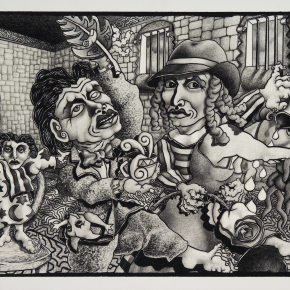 "The Kentucky Institute for the Criminally Insane and the Slightly Upset 2009 graphite on board 15"" x 20"""