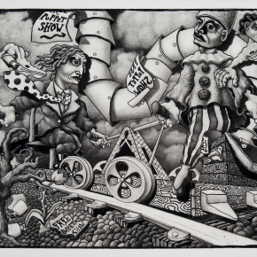 "The Puppeteer's Hand Cart  2012 graphite on board 20"" x 30"""