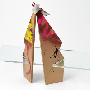 "dissolve me + the love between; 2015; plexiglass, MDF, screws, paint, urethane resin, clamp, glue , cardboard; 41"" x 51.5"" x 16"""
