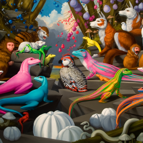 "Diorama with Xanax and Bruised Fruit; 2011; oil on canvas; 23.36"" x 48"""